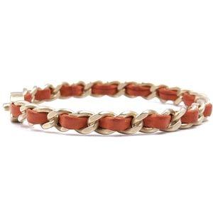 CHANEL Jewelry - Gold Orange Turnlock Leather Chain Cuff Bracelet